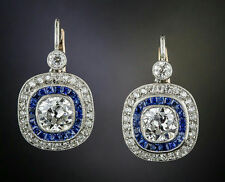 Solid Dangle Earrings Cocktail 925 Sterling Silver Blue White Art Deco Jewelry