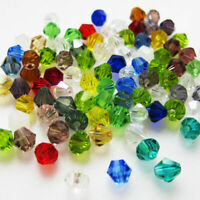 100pcs 6mm Bicone Faceted Crystal Glass Loose Spacer Beads-Findings-Mix&Col B8P3