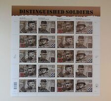 Scott #3393-96 DISTINGUISHED SOLDIERS US Stamps sheet, 20x33c, MNH, 2000, USPS