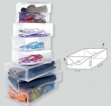 4 Stück Schuhbox transparent Herrengröße | Box Schuhe Sneaker | Aufbewahrungsbox