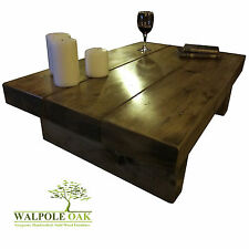 "COFFEE TABLE, RUSTIC EXTRA CHUNKY 3"" THICK PINE BEAM SOLID WOOD HANDMADE OAK WAX"