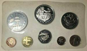 1974 coinage of Barbados sterling silver franklin mint boxed coa