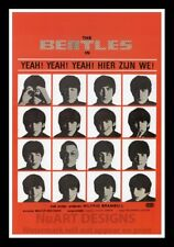 "Framed Vintage Style Rock 'n' Roll Poster ""THE BEATLES - YEAH, YEAH, YEAH"";12x18"
