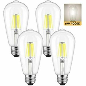 ST58 Vintage Edison LED Bulb 60 Watt Equivalent, Daylight White 4000K, 6W E26