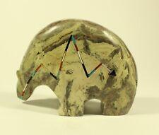 Zuni Indian Stone Turquoise Fetish Bear Heart Line Stone Carving