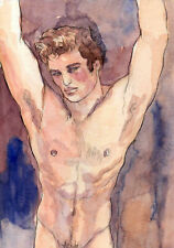 ORIGINAL LARGE MALE NUDE Watercolor - FABRIZIO- by GERMANIA