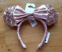 Disney Parks Exclusive Rose Gold Minnie Mouse Bow Sequins Ears Hat Headband Pink