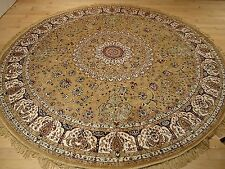 Luxury Gold Persian Qum Silk Rug 6' Round Shape Rugs Persian Rugs Circle 6'x6'
