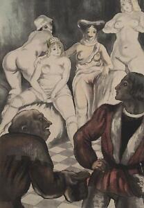 BERTHOMME SAINT ANDRE :  Les femmes de joie - Lot de 2 EAUX FORTES, 1931