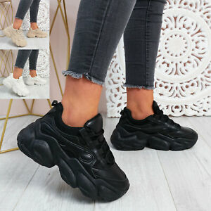 WOMENS LADIES CHUNKY TRAINERS WEDGE PLATFORM LACE UP SNEAKERS WOMEN SHOES SIZE