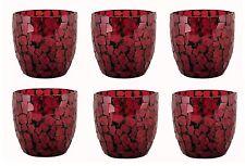 Dark Red  Mosaic Glass Votive Holder Set/6 Tea light Fuel Cell Votive Candle