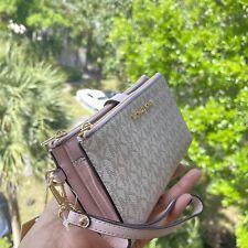 Michael Kors Pink Vanilla MK Signature  Jet Set Double Zip Phone Wallet Wristlet