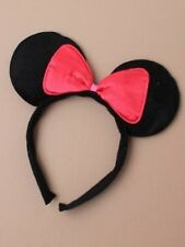 NEW Black mouse ears with bow on aliceband children adult hen party fancy dress