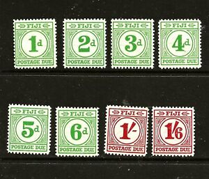 FIJI (Z-121B) 1940 POSTAGE DUES SGD11-18 FULL SET OF 8 VERY MM / MH