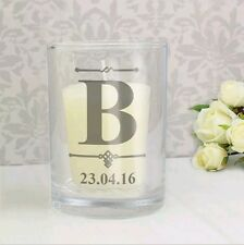Personalised Initial Votive Candle Holder Birthday Funeral Memorial Wedding Baby