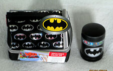 NWT Batman LARGE LUNCHBOX FUNTAINER 10oz THERMOS Black Silver RARE Bento Box NEW