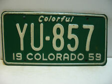 1959 Colorado License Plate   YU - 857  Colorful     Vintage   as5161