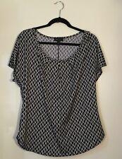 AB STUDIO - Black &  White Geometric Stretch Short Sleeve Pullover Top Size L