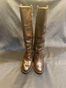 "Frye Boot/Caroline Campus/Leather Women Sz.8.5 M-Brown-Heel 3.75"""
