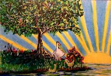 ACEO Original Art Storybook Goose and Goslings Sun Rays Tree Water by LGarcia