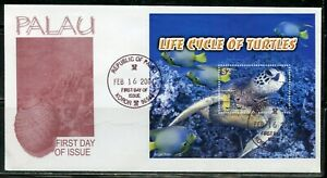 PALAU 2004 LIFE CYCLE OF TURTLES  SOUVENIR SHEET FIRST DAY COVER