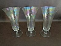 Set of Three Iridescent Crystal Parfait Dishes With Swirl Design