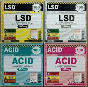 Denial Blotter Print 4 Pack Drugs Psychedelic LSD ACID 100mg Good Vibes Mimo Art