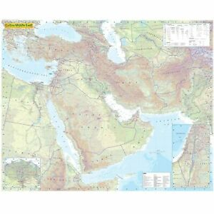 Middle East Political Wall Map Laminated