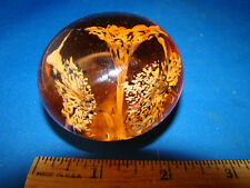 Art Glass Paper Weight Hand Blown Amber or Peach Colored @3B