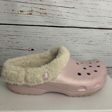 Crocs Mens Womens Unisex sz 7 9 Pink Clogs Slip-On Casual Faux Fur Lined