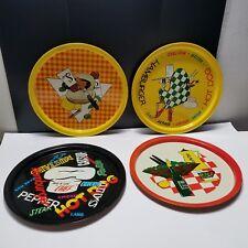 "Tin Litho 11"" Plates Trays Cookout Chef Hamburgers Food Serving Vtg Mcm Set of 4"