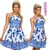 Sexy European Floral Flower Print Summer A-Line Dress Trendy Size 6 8 10 XS S M
