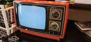 Rare Vintage Admiral Retro Solid State Television TV WORKS red