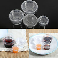 50x Disposable Plastic Condiment Sauce Chutney Cup Food Container Storage Box HG