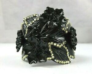 Beautiful Obsidian Black Cuff Bracelet Gothic Style with Rhinestones and Skull