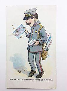 Vintage Comic Postman Letter Carrier Prescribed Duties Postcard G904