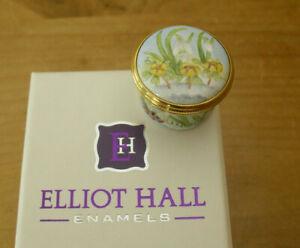 "Boxed Ltd Ed Elliot Hall Enamels Spring Flowers Screw-Top Box - E Todd - >1 1/8"""