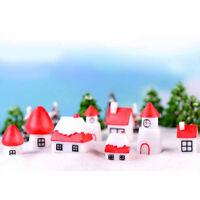 2pcs Christmas house Miniatures For Fairy Garden Gnomes Moss Terrariums Decor BI