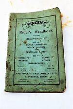 Vincent Rider's Handbook 1951 Black Shadow y otras Bicicletas De Vincent De