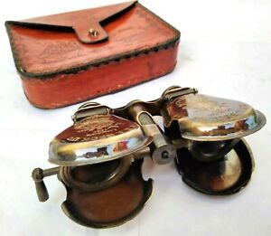 Antique Brass Black Binocular Monocular Flap open Style With Leather cover Gift