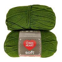 Lot 2 Skeins Red Heart Soft Dark Leaf Green Yarn 100% Acylic 5oz ea E728 9523