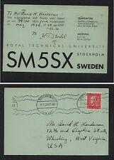 Sweden    QSL   radio SM5SX   to US 1936                MS1008