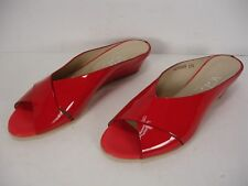 NEW AGL ATTILIO GIUSTI LEOMBRUNI RED PATENT LEATHER WEDGES SANDALS WOMEN 37.5