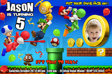 SUPER MARIO BROS BIRTHDAY PARTY INVITATION PHOTO BROTHERS customizable 1ST - C5