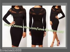 Womens Casual Wear to work Mesh see through Wiggle Midi Pencil A Dress Small Blk