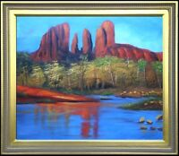 Framed Mountain Valley, Quality Hand Painted Oil Painting 20x24in