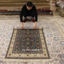 YILONG 3'x5' Blue Hand-knotted Silk Carpet High Density Home Decor Area Rug 292H