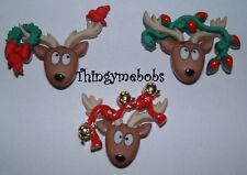 3 OH DEER REINDEER/RUDOLPH NOVELTY CRAFT BUTTONS - CHRISTMAS