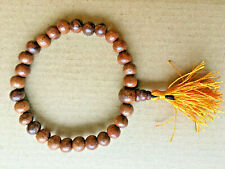 8mm Wooden Beads Stretch Bracelet with Yellow Tassel Buddhist Yoga