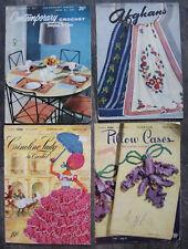 Vtg Crochet & Knit Decor Patterns 1940s-50s, Afghans, Pillowcases, Home Decor